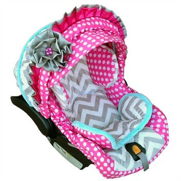 Infant Car Seat Cover in Baby Polka Dots