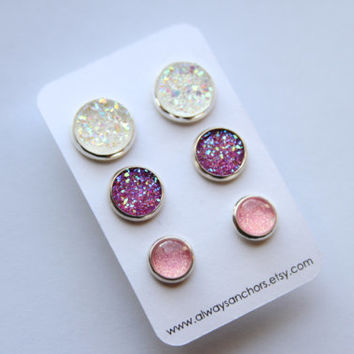 Mixed Size Earring Set - Posts - Clear/Rainbow Faux Druzy, Purple Faux Druzy, Ballerina Shimmer LMS