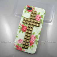IPhone 5 case,Bronze Pyramid Cross Studded iPhone 5 Case,Vintage Red Flower Rose iPhone Hard Case
