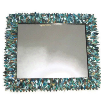 Teal, Blue, and Green Large Mirror, Leather Feather Wall Mirror, Bathroom Mirror, Hanging Mirror