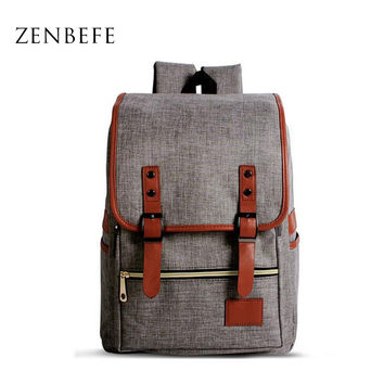 ZENBEFE High Quality Women'S Backpacks Durable Linen School Bags Leisure College Laptop Backpack Women'S Travel Bag Mochila