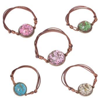 New listing Hand-made Small Dried Flowers Glass Time Gem bracelet for Women Wax Rope Bracelet Jewelry Gift