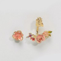 Bill Skinner Gold Plated Vintage Rose Through & Through Earrings at asos.com