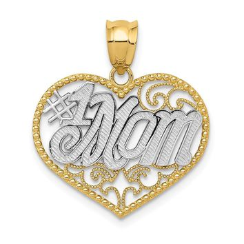 14k Yellow Gold and White Rhodium Filigree #1 Mom Heart Pendant, 20mm
