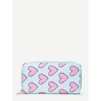 Heart Print Pu Purse