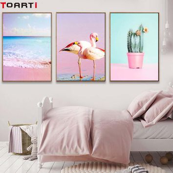 Flamigo Pink Ocean Cactus Nordic Poster&Print Modern Canvas Painting Wall Picture For Bedroom Abstract Wall Art Mural Home Decor