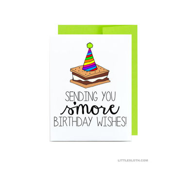 Summer birthday greeting card - funny pun puns s'more card - sending you s'more birthday wishes happy bday chocolate rainbow lime green