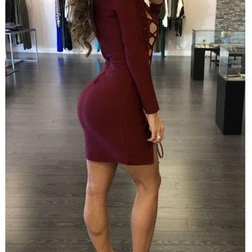 Streetstyle  Casual Burgundy Plain Hollow-out Side Lace-up Slit Deep V-neck Bodycon Clubwear Mini Dress