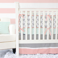 Coral and Mint Arrow Baby Bedding | Arrow Crib Bedding Set