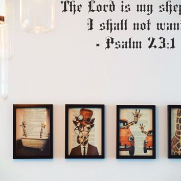 The Lord is my shepherd I shall not want - Psalm 23:1 Style 11 Vinyl Decal Sticker Removable