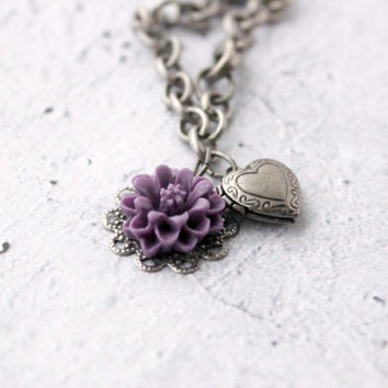 Brushed Silver Charm Bracelet with Tiny Heart Locket and Purple Flower - Filigree Charm Bracelet - Keepsake Jewelry