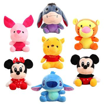 8Pcs/set Disney Stuffed Animals Plush Mickey Mouse Minnie Winnie the Pooh Doll Lilo and Stitch Piglet Birthday Gift Kid Girl Toy