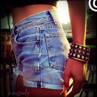 Levis Plain high waisted cuffed denim shorts,rolled Up Denim,Jean Shorts by Jeansony