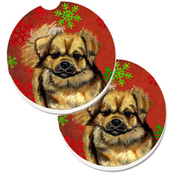 Tibetan Spaniel Red Green Snowflake Holiday Christmas Set of 2 Cup Holder Car Coasters LH9349CARC