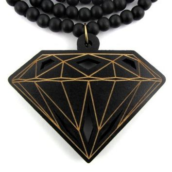 Large Wooden Diamond Supply Co. BBC Pendant Bead Chain Necklace ALL GOOD WOOD STYLE! two toned