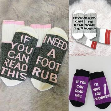 I m Wild For Planners letter socks If You can read this Bring Me a Glass Winter Unisex Women Men Socks
