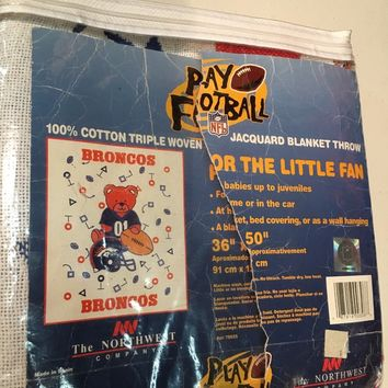 NWT VINTAGE DENVER BRONCOS BABY TRIPLE WOVEN JACQUARD BLANKET WITH BEAR