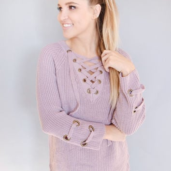 Evergreen Lace Up Sweater Lavender