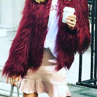 Burgundy Draped Long Sleeve Faux Fur Fashion Coat