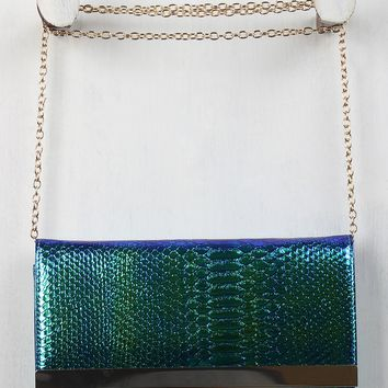 Holographic Snakeskin Clutch Bag