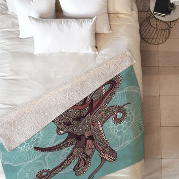 Valentina Ramos Octopus Bloom Fleece Throw Blanket