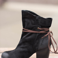 Monday Meetings Suede Wrap Booties- Black