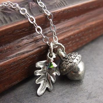 Acorn Necklace Silver Acorn Pendant Silver Oak Leaf by DebraDane