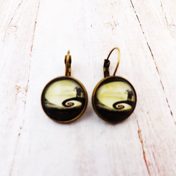 Nightmare Before Christmas Antique Brass  Earrings
