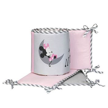 Lambs & Ivy Disney Baby Minnie Mouse Pink/Gray 4-Piece Crib Bumper