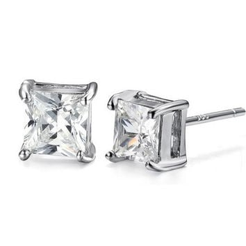 6mm Princess Cut Square Crystal Zircon Earrings