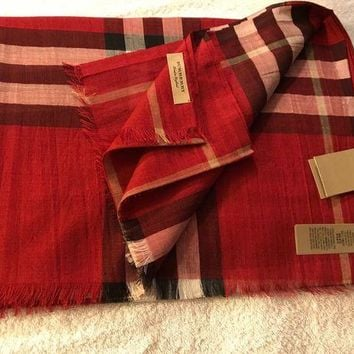 VONEA7H Burberry Check Scarf Wool / Silk - Parade Red - Brand New