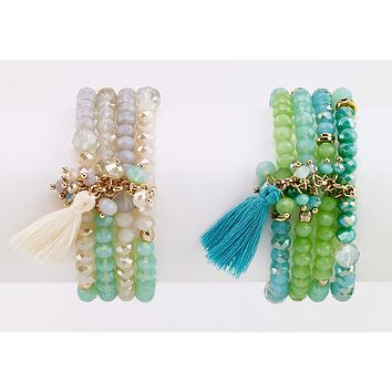 Beaded Bracelet with Tassel