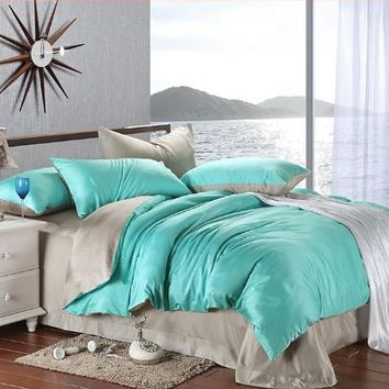 New arrival Turquoise Grey Solid Color Duvet Cover Bedding Queen King Bedding Set Smooth Fashion Tencel Twill Bed in A Bag (King Size)