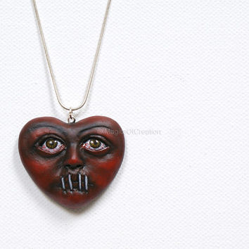 Love Is Silence 2, OOAK heart pendant! One of a kind air dry clay heart portrait sculpture as a pendant, completely handmade