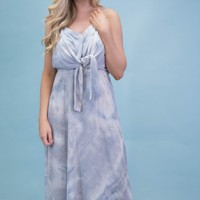 Paper Doll Tie Front Maxi, Dusty Blue