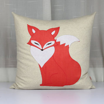 The enchanting fox pillows,Home decor throw pillows,Cute Miss fox cushion covers,Handmade applique decorative embroidered pillow cases  sofa