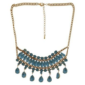 "Stones on Bib Link Chain Necklace - Gold/Teal (18"")"