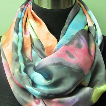 Bright Yellow, Pink, Aqua, Purple, Grey Splash Infinity Scarf