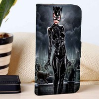 Catwoman | Superheroes | Movie | custom wallet case for iphone 4/4s 5 5s 5c 6 6plus case and samsung galaxy s3 s4 s5 s6 case