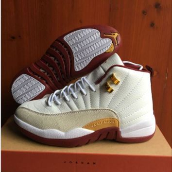 ONETOW Air Jordan 12 Retro AJ 12 White/Wine Red Men Women Basketball Shoes