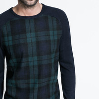 SWEATER WITH CHECKED PATTERN AT THE FRONT