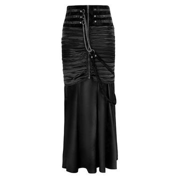 Gothic High Waist Pleated Lace Up Mermaid Skirt