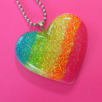 Over the Neon Rainbow   glitter resin pendant by HighStrungBead
