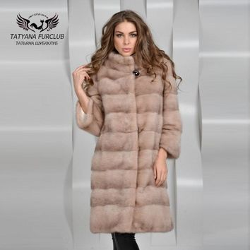 Tatyana Furclub Whole Skin Mink Fur Coat,Fur Coat Natural Fur,Fashion Femal Quality Luxurious Mink Coat,Women's Mink Fur Coat