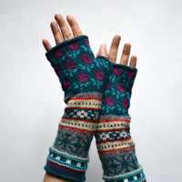 Bohemian Fingerless Gloves - Long Turquoise Fingerless Gloves - Floral Groves - Fall Accessories - Fashion Gloves nO 100.