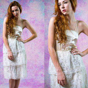 vtg 80's handmade tiered ruffle formal dress, 1980s fancy wedding prom silk lace, cream white spaghetti strap bridal gown, tumblr fashion