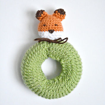 Mr. Tod Fox Baby Rattle - Knit Fox Baby Toy - Made to Order