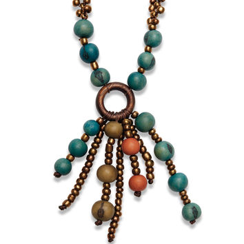 Greenola Style Beaded Pendant Necklace