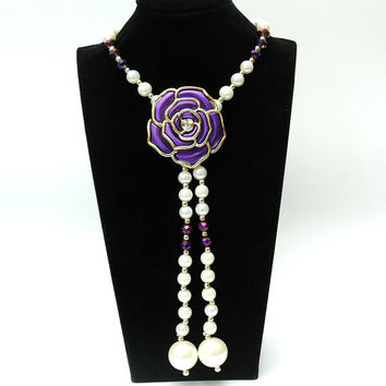 1920s Pearl Necklace, Purple Flower Necklace, Flapper Long Pearl Necklace, Great Gatsby Style Necklace