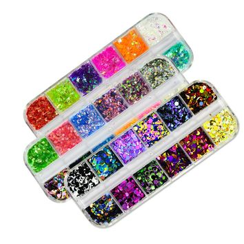 Full Beauty 3 Case Hot Dazziling Nail Sequins 3D Round/Fish Scales Flakes DIY Sparkly Manicure Sticker Nail Art Decor CH130